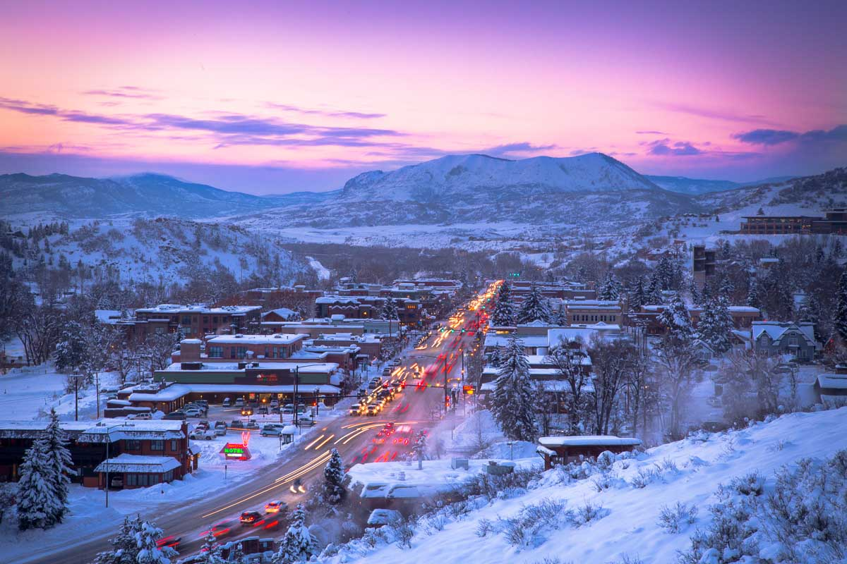 Winter sunsets looking down main street at Sleeping Giant Mountain
