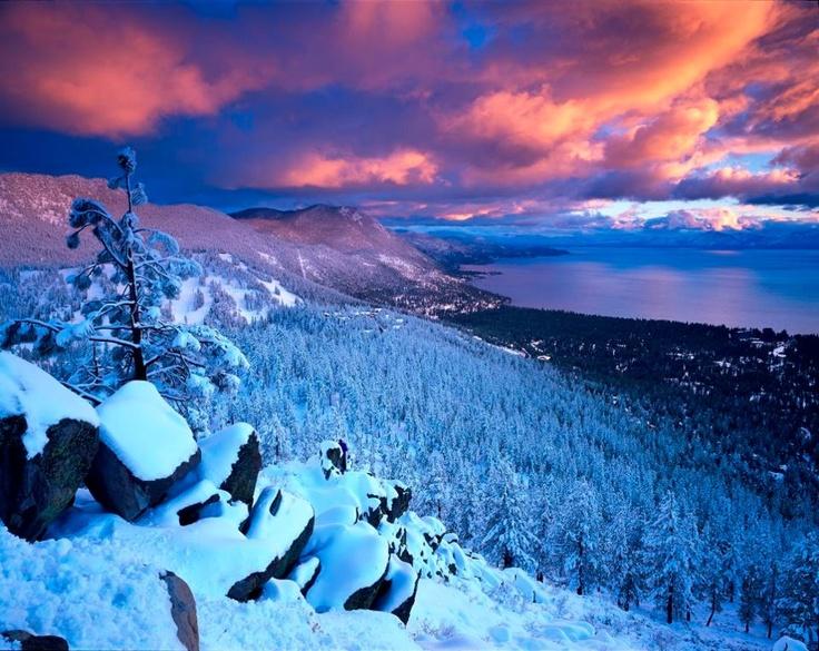 Winter Lake Tahoe Sunset