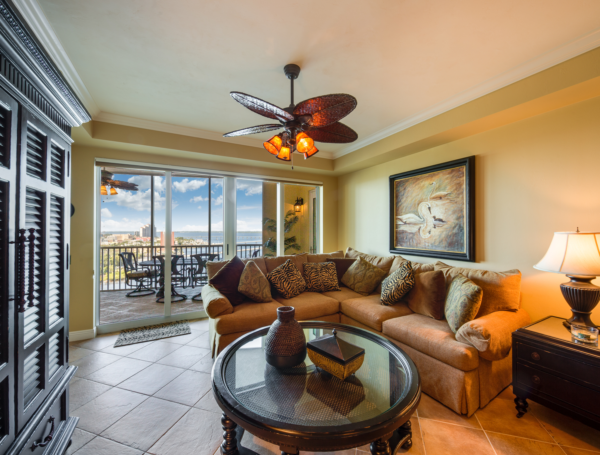 A view overlooking the living area and Caloosahatchee River in Cape Coral, FL.