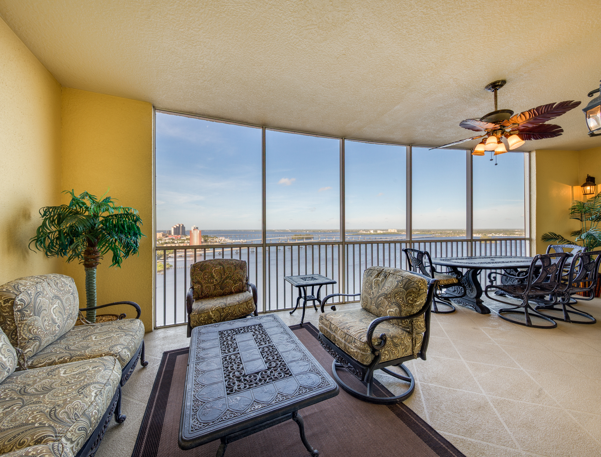 A view overlooking the Caloosahatchee River from a luxury home high-rise in Cape Coral, FL.