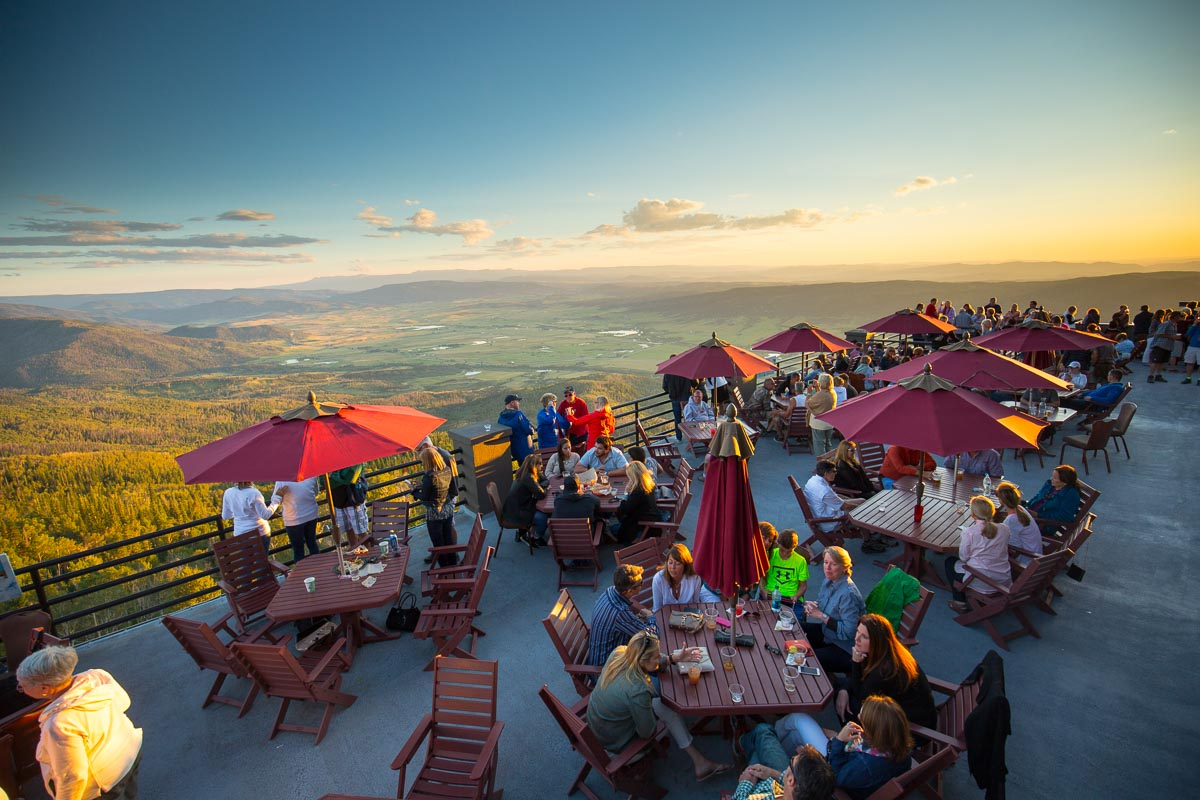 Sunset Happy Hour at the top of the Gondola at Steamboat Springs Resort